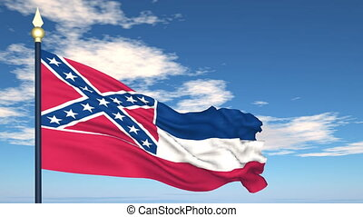 Flag of the state of  Mississippi USA
