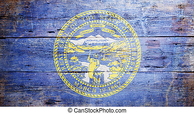Flag of the state of Nebraska painted on grungy wooden background
