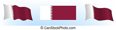 Flag of the state of Qatar in a static position and in ...