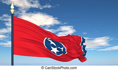 Flag state of Tennessee on the background of the sky and flying clouds