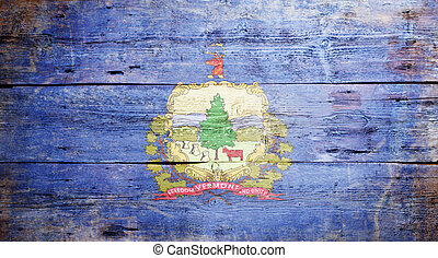 Flag of the state of Vermont painted on grungy wooden ...