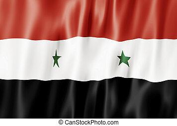 Flag Of The Syrian Arab Republic, Syria Blowing in Wind