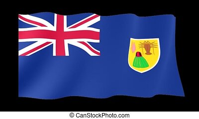 Flag of the Turks and Caicos Islands. Waving flag computer animatie.