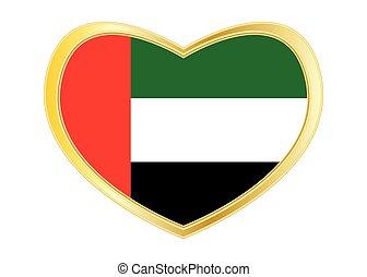 Flag of the UAE in heart shape, golden frame