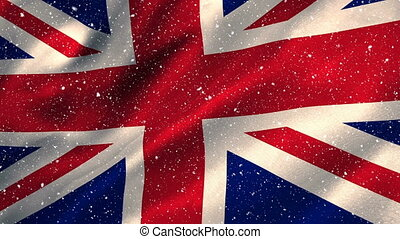 Flag of the UK and snow