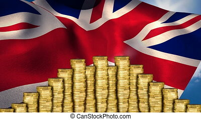 Flag of the UK behind money
