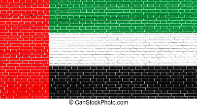 Flag of the United Arab Emirates on brick wall texture background