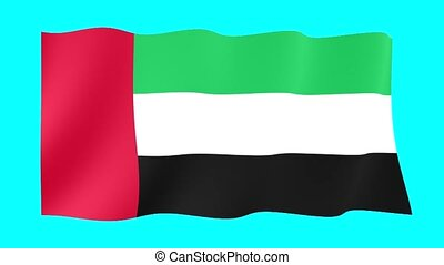 Flag of the United Arab Emirates. Waving flag
