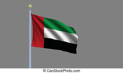 Flag of the United Arab Emirates waving in the wind with...
