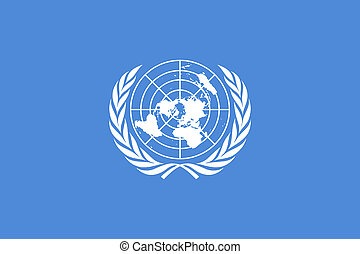 Current flag of the United Nations. Proportion 2:3. Color - Pantone 279C. Adopted December 7,1946.