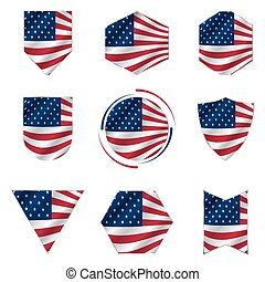 Flag of the United States of America icon vector set.