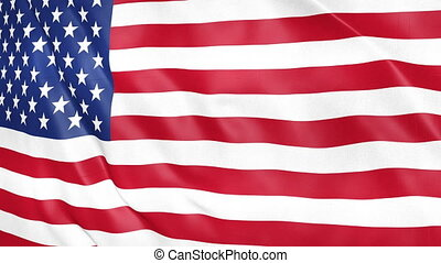 Flag of the United States of America waving 3d animation. Seamless looping American flag animation. USA flag waving