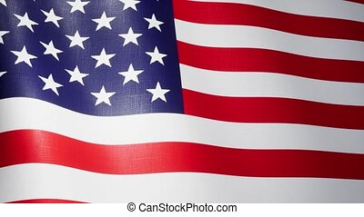 Flag of the United States of America waving in the wind with high detailed fabric texture - seamless loop animation 4K UltraHD UHD 3840x2160 3d Render Animation