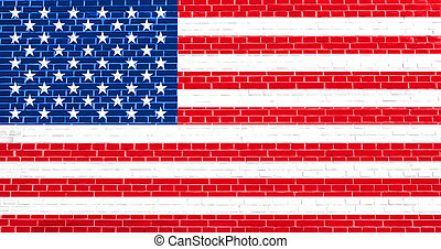 Flag of the United States on brick wall texture background