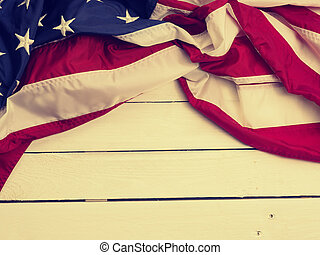 Flag of the United States on wood