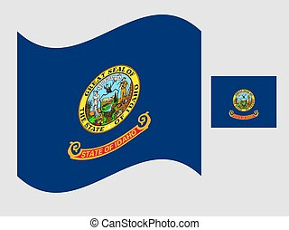Flag of the US state of Idaho waving vector illustration.