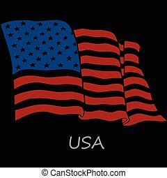 Flag of the USA on a black background