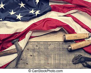 Flag of the USA on wood