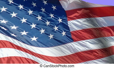 Flag of the USA swaying in the wind