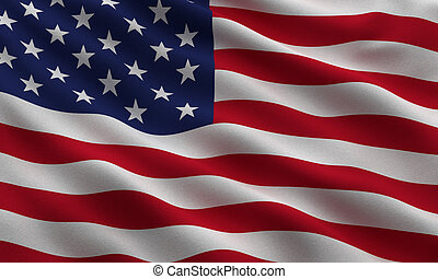 Flag of the USA waving in the wind - very highly detailed ...