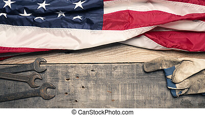 Flag of the USA with tools  on wood