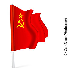 Waving the flag of the Union of Soviet Socialist Republics.