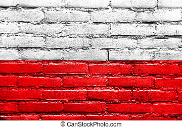 Flag of Thuringia, Germany, painted on brick wall