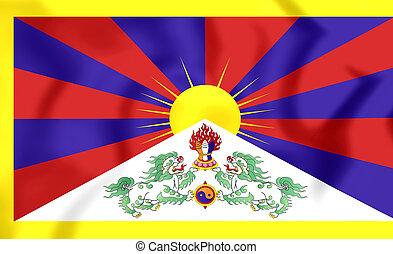 Flag of Tibet - 3D Flag of the Tibet. Close Up.