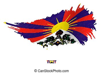 Flag of Tibet in grunge style with waving effect.