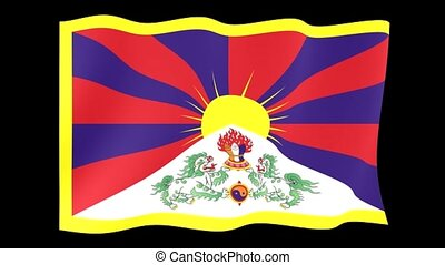 Flag of Tibet. Waving flag