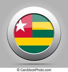 Flag of Togo. Metal gray round button.