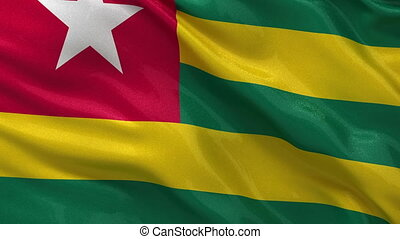 Flag of Togo gently waving in the wind. Seamless loop with high quality fabric material.