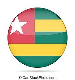 Flag of Togo. Shiny round button.