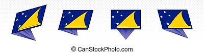 Flag of Tokelau in modern abstract design, flag set.