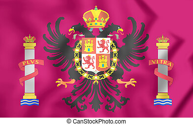 Flag of Toledo Province, Spain. 3D Illustration.