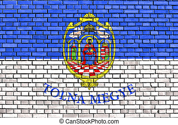 flag of Tolna County painted on brick wall