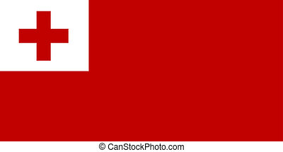 Flag of Tonga, national country symbol illustration