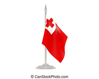 Flag of tonga with flagpole. 3d render