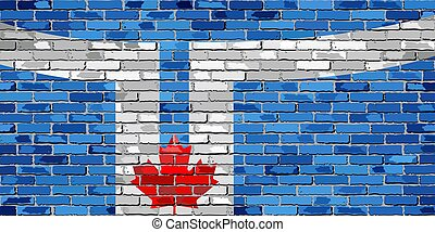 Flag of Toronto on a brick wall