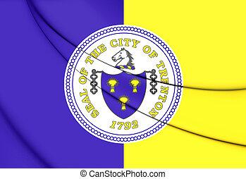 Flag of Trenton City (New Jersey), USA. 3D Illustration.