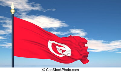 Flag Of Tunisia on the background of the sky and flying...