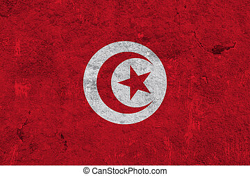Flag of Tunisia on weathered concrete