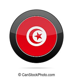 Flag of Tunisia. Shiny black round button.