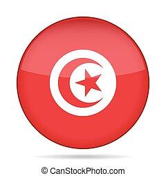 Flag of Tunisia. Shiny round button.