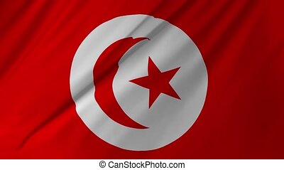 Flag of Tunisia with fabric structure looping 2 in 1