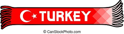 Flag of Turkey colors - sport fans scarf design vector illustration