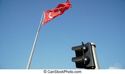 Flag of Turkey. Flag of Turkey fluttering in the wind