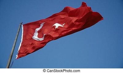 Flag of Turkey. Flag of Turkey fluttering in the wind