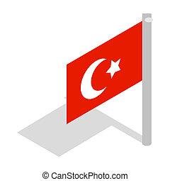Flag of Turkey icon, isometric 3d style