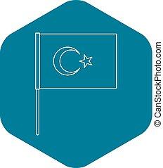 Flag of Turkey icon, outline style - Flag of Turkey icon....